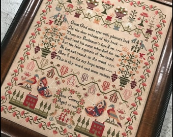 Counted Cross Stitch Pattern, Jane Cowey 1850, Reproduction Sampler, Religious Sampler, Primitive Decor, The Scarlett House, PATTERN ONLY