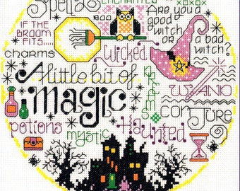Counted Cross Stitch Pattern, Let's Be Magical, Cross Stitch, Snow Globe, Halloween, Witch Hat, Imaginating, Ursula Michael, PATTERN ONLY
