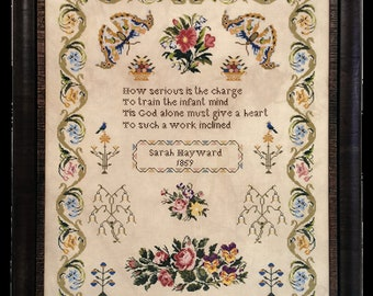 Counted Cross Stitch Pattern, Sarah Hayward 1859, Roses, Reproduction Sampler, Antique Reproduction, Pansies, Fox and Rabbit, PATTERN ONLY