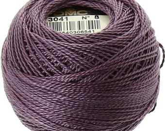 DMC Perle Cotton, Size 8, DMC 3041, Medium Antique Violet, Pearl Cotton Ball, Embroidery Thread, Punch Needle, Embroidery, Penny Rugs