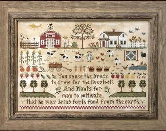 Counted Cross Stitch Pattern, Farm Life, Barn, Farmhouse, Chickens, Sheep, Farm Sampler, Inspiration, Little House Needleworks, PATTERN ONLY