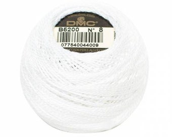 DMC Perle Cotton, Size 8, DMC B5200, Snow White, Embroidery Thread, Punch Needle, Embroidery, Penny Rugs, Sewing Accessory