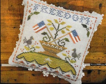 Counted Cross Stitch Pattern, Early Americans, No 5, Freedom, Little House Needleworks, Cross Stitch Pillow, PATTERN ONLY