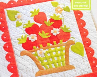 Wool Applique Pattern, Strawberry O, Spring Decor, Summer Decor, Cottage Chic, Applique Pattern, Strawberry Basket, PATTERN ONLY