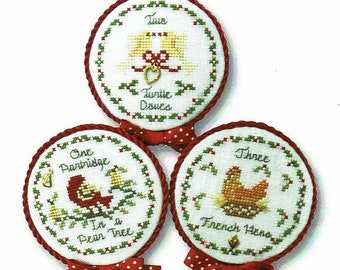 Counted Cross Stitch Pattern, Twelve Days of Christmas, Christmas Ornaments, Partridge, Turtle Doves, French Hens, JBW Designs, PATTERN ONLY