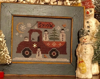Cross Stitch Pattern, Traveling Snowmen Truck, Winter Decor, Snowmen, Snowflakes, Pick-Up Truck, Moon, Homespun Elegance, PATTERN ONLY