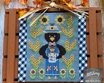 Counted Cross Stitch Pattern, Clovis & Stanley, Black Crow, Sunflowers, Autumn Decor, Stitching Housewives, PATTERN ONLY