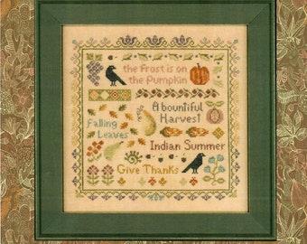 Counted Cross Stitch, Antique Autumn Sampler, Farmhouse Decor, Leaves, Crows, Fall Decor, Primitive Decor, Elizabeth's Designs, PATTERN ONLY