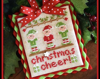 Counted Cross Stitch, Christmas Cheer, Christmas Ornament, Christmas Pillow, Elves Ornament, Country Cottage Needleworks, PATTERN ONLY