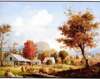 Counted Cross Stitch, Autumn Cider Pressing, Landscape, Farmhouse Decor, Architecture, George Henry Durrie, Cross Stitch, PATTERN ONLY