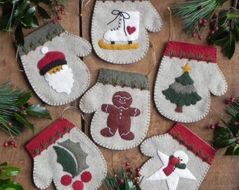 Wool Applique Pattern and Kit, Warm Hands, Christmas Mitten Ornaments, Wool Kit, Christmas Decor, Rachel's of Greenfield, PATTERN AND KIT