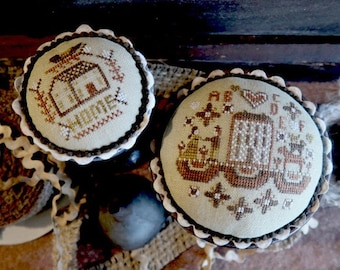 Counted Cross Stitch Pattern, Two Homes, Primitive Decor, Country Decor, Americana, Home Decor, Primitive Decor, Teresa Kogut, PATTERN ONLY