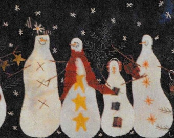 Wool Applique Pattern, Snowman Gathering,  Wool Table Runner, Winter Decor, Primitive Decor, Snowmen, Primitive Gatherings, PATTERN ONLY