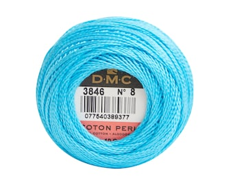 DMC Perle Cotton, Size 8, DMC 3846, Turquoise, Pearl Cotton Ball, Embroidery Thread, Punch Needle, Embroidery, Penny Rug, Sewing Accessory