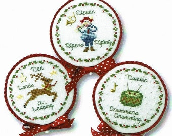 Counted Cross Stitch Pattern, Twelve Days of Christmas, Christmas Ornaments, Lords A-Leaping, Pipers, Drummers, JBW Designs, PATTERN ONLY