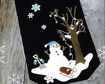 Wool Applique Pattern, Silent Night Frosty Night, Wool Applique Table Runner, Snowman Decor, Winter Decor, Frosty, Nutmeg Hare, PATTERN ONLY
