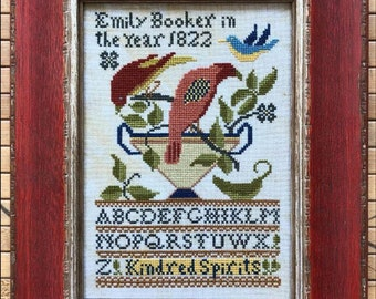 Counted Cross Stitch Pattern, Kindred Spirits, Sampler, French Sentiments, Folk Art, Reproduction Sampler, Kathy Barrick, PATTERN ONLY