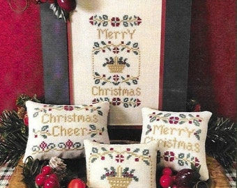 Counted Cross Stitch Pattern, Merry Christmas, Christmas Decor, Christmas Ornament, Pin Cushions, Scissor Tail Designs, PATTERN ONLY