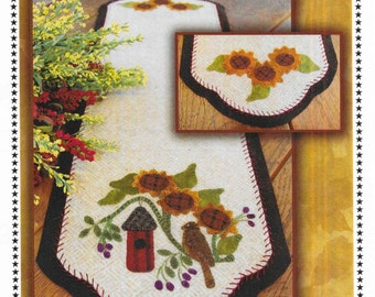Wool Applique Pattern, No Place Like Home, Table Runner, Sunflowers, Spring Decor, Primitive Decor, Autumn, Primitive Gathering PATTERN ONLY