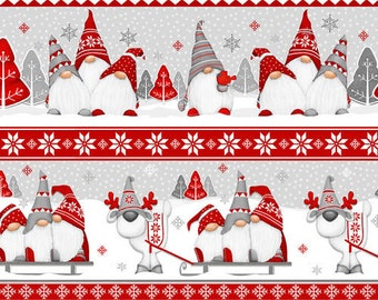 Flannel Fabric, Winter Whimsy, Gnomes, Novelty Stripes, Winter Flannel, Cotton Flannel, Quilting Flannel, Shelly Comiskey, Henry Glass