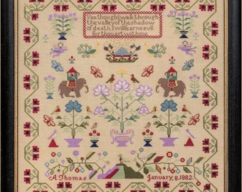 Counted Cross Stitch Pattern, A Thomas 1882, The Nellies, Reproduction Sampler, Floral Motifs, Hands Across the Sea, PATTERN ONLY