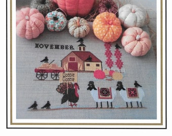 Counted Cross Stitch Pattern, Heroic Ewes Giving Thanks, Sheep, Barn, Turkey, Fall Decor, Country Rustic, Twin Peak Primitives, PATTERN ONLY