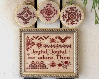 PRE-Order, Counted Cross Stitch Pattern, Joyful Joyful, Christmas Decor, Christmas Hymn, Beth Twist, Heartstring Samplery, PATTERN ONLY