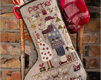 Counted Cross Stitch Pattern, Parker's Stocking, Christmas Stocking, Santa, Snowman, Holiday Charms, Shepherd's Bush, PATTERN ONLY