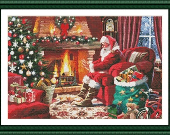 Counted Cross Stitch Pattern, Warming Hands by the Fire, Christmas Decor, Santa Claus, St. Nick, Dyan Allaire, Kustom Krafts, PATTERN ONLY