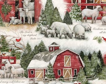 Quilt Fabric, The Lord is My Shepherd, Red Barns, Cardinals, Christmas Tree, Sheep, Christmas Fabric, Inspirational, Holiday, Susan Winget