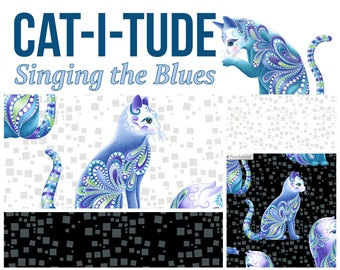 Quilt Fabric, Cat-I-Tude, Aristo-Cats, Black Cats, White Cats, Geo, Quilters Cotton, Singing the Blues, Ann Lauer, Grizzly Gulch, Benartex