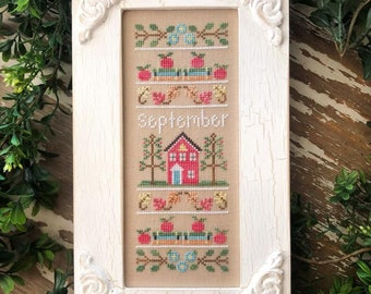 PRE-Order, Counted Cross Stitch, Sampler of the Month, Summer Decor, Cottage Decor, Apples, Country Cottage Needleworks, PATTERN ONLY