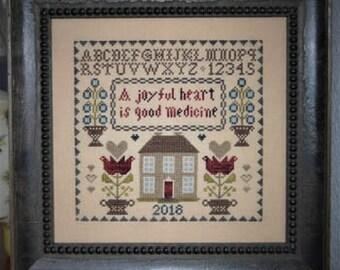 Counted Cross Stitch Pattern, A Joyful Heart, Scriptural Sampler, Religious Sampler, Inspirational, Abby Rose Designs, PATTERN ONLY