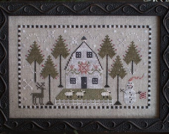 Counted Cross Stitch Pattern, A Country Winter, Farmhouse Decor, Winter Scene, Sheep, Primitive Decor, Plum Street Samplers, PATTERN ONLY
