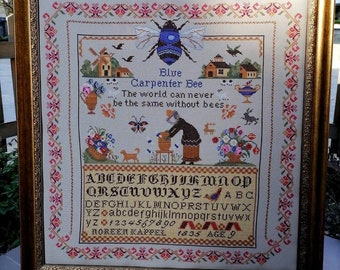 Counted Cross Stitch Pattern, Blue Carpenter Bees, Reproduction Sampler, Country Rustic,  Windmill, Twin Peak Primitives, PATTERN ONLY