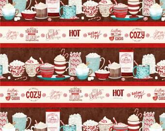 Quilt Fabric, Cuppa Cocoa, Repeating Stripe, Hot Cocoa, Quilters Cotton, 100% Cotton, Quilter Cotton, Premium Cotton, Danielle Leone