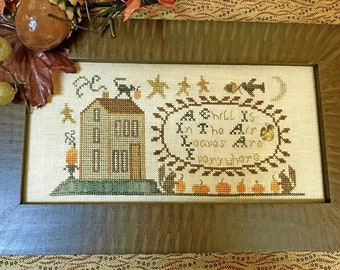 Cross Stitch Pattern, A Chill is in the Air, Squirrels, Pumpkins, Acorn, Colonial Decor, American Heritage, Homespun Elegance, PATTERN ONLY