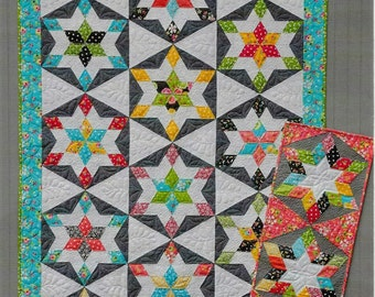 Quilt Pattern, Seville, Pieced Quilt, Star Quilt, Table Runner, Bed Quilt, Hexagon Quilt, Heather Peterson, PATTERN ONLY