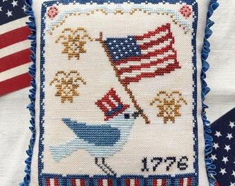 Counted Cross Stitch Pattern, A Bluebird's Salute, Americana, Patriotic, American Flag, Primitive Decor, Luminous Fiber Arts, PATTERN ONLY
