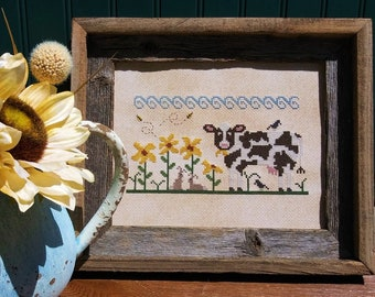 Counted Cross Stitch Pattern, Eeny Meeny Miny Moo, Sunflowers, Cow Farm, Dairy Farm, Sunflower Farm, Vintage NeedleArts, PATTERN ONLY