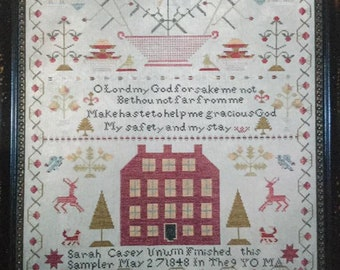 Counted Cross Stitch Pattern, Sarah Casey Unwin, 1848 Sampler, Reproduction Sampler, Antique Reproduction, Chessie and Me, PATTERN ONLY