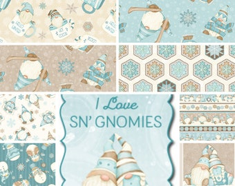 Flannel Quilt Fabric, I Love Sn'Gnomies, Winter Fabric, Gnomes, Snowmen, Hot Cocoa, Quilters Fabric, Shelly Comisky, Henry Glass Fabrics