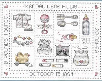 Counted Cross Stitch Pattern, Yesterday's Child, Birth Record, Nursery Decor, Child's Room, Booties Charm, Sue Hillis Designs, PATTERN ONLY