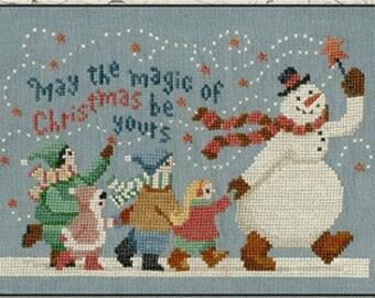 Counted Cross Stitch Pattern, Magic of Christmas, Christmas Decor, Snowman, Primitive Decor, Teresa Kogut, PATTERN ONLY