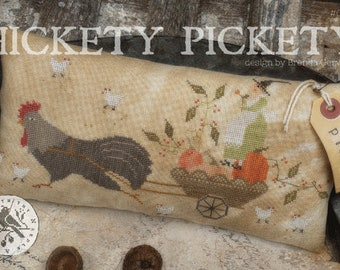 Cross Stitch Pattern, Hickety Pickety, Halloween Decor, Rooster, Pumpkins, Chickens, Witch, Primitive Decor, Brenda Gervais, PATTERN ONLY