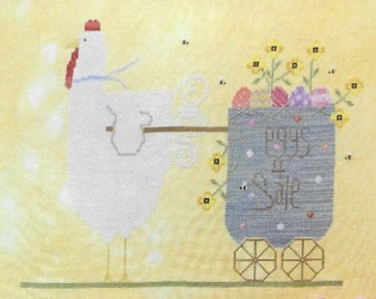 Counted Cross Stitch Pattern, Spring Chicken, Easter Decor, Easter Eggs, Farmhouse Decor, Spring Decor, Needle Bling Designs, PATTERN ONLY