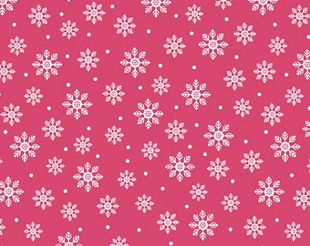 Quilt Fabric, Joy, Bright Flakes, Pink, Christmas Fabric, Holiday, Benartex, Contempo, Cherry Blossom Quilting, Cherry Guidry