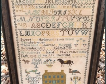 Counted Cross Stitch Pattern, Mary Miller 1842, Reproduction Sampler, Inspirational, Primitive Decor, The Scarlett House, PATTERN ONLY