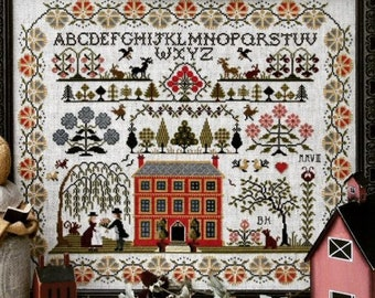 Counted Cross Stitch Pattern, Red House Sampler, Sampler, Saltbox House, Weepiing Willow, Brenda Keyes, The Sampler Company, PATTERN ONLY