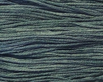 Weeks Dye Works, Blue Jeans, WDW-2107, 5 YARD Skein, Hand Dyed Cotton, Embroidery Floss, Counted Cross Stitch, Embroidery, Over Dyed Cotton